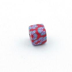 Fimokraal, blokje, rood, 8 mm (10 st.)