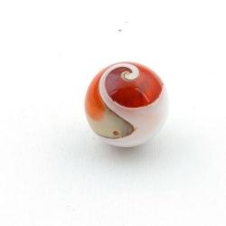 Geperste schelp kraal rond rood 18 mm (3 st.)