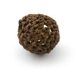 Gehaakte kraal, rond, goudkleurige kern, bruin, 20 mm (5 st.)