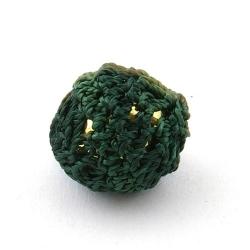 Gehaakte kraal, rond, goudkleurige kern, legergroen, 20 mm (5 st.)