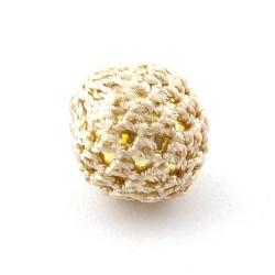 Gehaakte kraal, rond, goudkleurige kern, beige, 20 mm (5 st.)