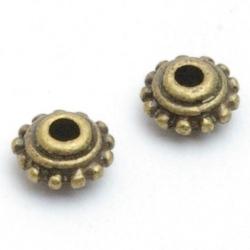 Metaal, spacer, antique goud, 4 x 8 mm (10 st.)