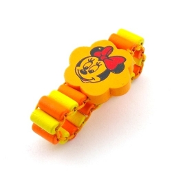 Houten kinderarmband, elastiek, geel, Minnie Mouse