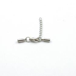 Eindkapje met karabijnslotje, antique zilver, rond, 8 mm, binnenmaat 2 mm (3 st.)