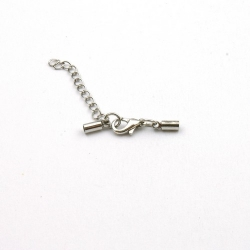 Eindkapje met karabijnslotje, antique zilver, rond, 8 mm, binnenmaat 3 mm (3 st.)