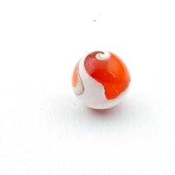 Geperste schelp kraal rond rood 20 mm (3 st.)