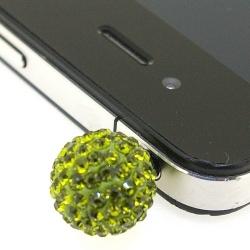 Pimpin glitterbal voor mobiele telefoon, olijf, 14 mm (1 st.)