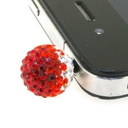 Pimpin glitterbal voor mobiele telefoon, crystal/rood/oranje, 14 mm (1 st.)