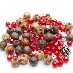 Mix, bruin/rood/metallook (ong. 50 gram)