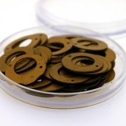 Lovertjes in rond doosje, rond, twee rijggaatjes, brons, 17 mm (5 gram)