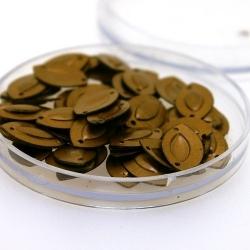 Lovertjes in rond doosje, ovaal, twee rijggaatjes, brons, 14 x 8 mm (3 gram)
