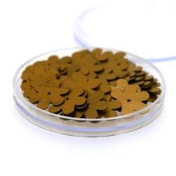 Lovertjes in rond doosje, bloem, brons, 14 mm (5 gram)