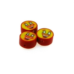 Fimokraal, rond, rood/geel, happy face, 10 mm (streng)