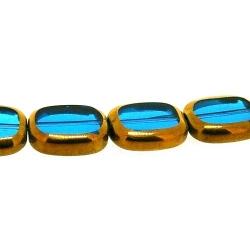 Framed kraal, goud, rechthoek, blauw, 14 x 12 mm (1 streng)