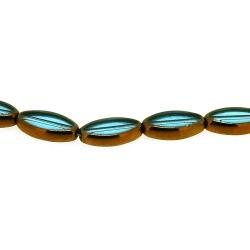 Framed kraal, goud, ovaal, blauw, 18 x 10 mm (1 streng)
