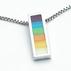 Ketting, sterling zilver met een regenboog hanger (1 st.)