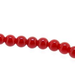 Gekleurd steen kraal, rond, rood, 4 mm (streng)