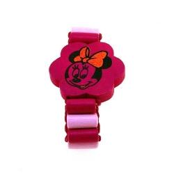 Houten kinderarmband, elastiek, Minnie Mouse, lichtroze/donkerroze (1 st.)