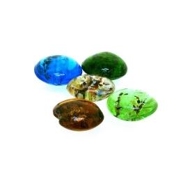 Glaskraal, rond, plat, mix, zilverfolie, 18 mm (streng)