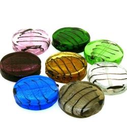 Glaskraal, rond, plat, mix, zilverfolie, 24 mm (streng)