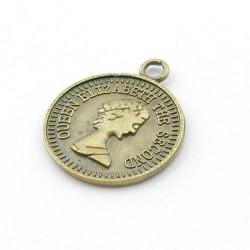 Metaal, hanger, munt, antique goud, 30 mm (3 st.)