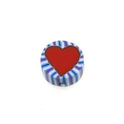 Fimokraal, rond, hart, blauw/wit/rood, 10 mm (streng)