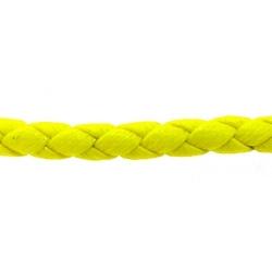 Rond gevlochten kunstleer, neongeel, 4 mm (1 mtr.)