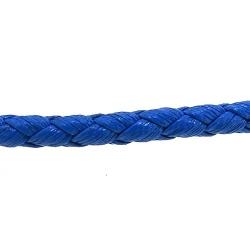 Rond gevlochten kunstleer, blauw, 4 mm (1 mtr.)