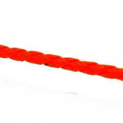 Rond gevlochten kunstleer, neon oranje, 2 mm (1 mtr.)