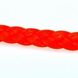 Gevlochten kunstleer, plat, neon oranje, 6 mm (1 mtr.)