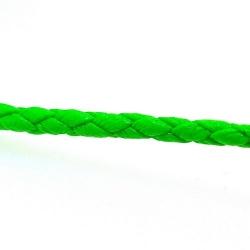 Rond gevlochten kunstleer, neongroen, 2 mm (1 mtr.)