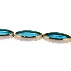 Framed kraal, zilver, ovaal, blauw, 18 x 10 mm (1 streng)