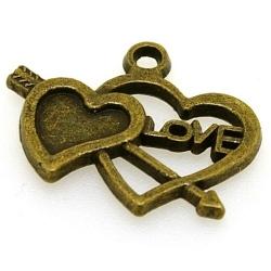 Metaal, hanger, hart met pijl, 'LOVE', antique goud, 18 x 22 mm (5 st.)