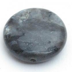 Halfedelsteen kraal rond plat zwart 20 mm (5 st.)