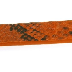 Snakeleather, plat, oranje, 1 cm (1.20 mtr.)