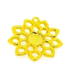 Metaal, hanger voor cabochon/plaksteen, bloem, goud, 28 mm (3 st.)