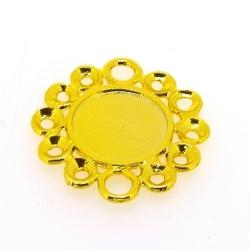 Metaal, hanger voor cabochon/plaksteen, bloem, goud, 30 mm (3 st.)