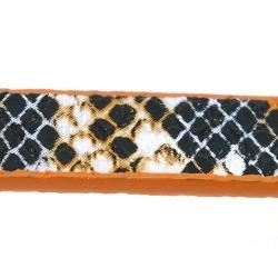 Snakeleather, plat, oranje/wit, 1 cm (1.20 mtr.)