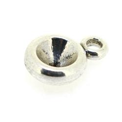 Metaal, hanger voor cabochon/plaksteen, rond, zilver, 18 mm (5 st.)