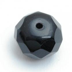 Glaskraal, donut met facetten, zwart, 14x17mm (5 st)