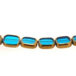 Framed kaal, goud, rechthoek, blauw, 10 x 7 mm (1 streng)