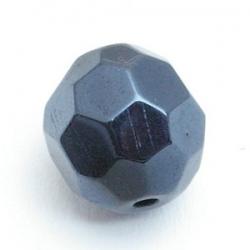 Glaskraal, rond met facetten, zwart, 16 mm (5 st.)