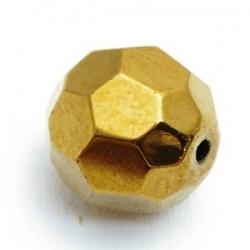 Glaskraal, rond met facetten, goud, 10 mm (10 st.)