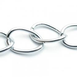 Jasseron ketting, zilver, 28 mm (1 mtr.)