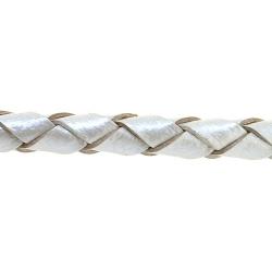 Natuurleer, rond, gevlochten, zilver, 4 mm (1 meter)