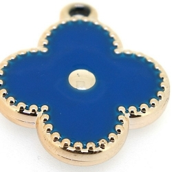 Resin, hanger, bloem, blauw, 32 mm (3 st.)