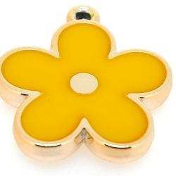Resin, hanger, bloem, geel, 37 mm (2 st.)