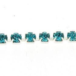 Cupchain zilver strass lichtblauw 3mm (2 mtr.)
