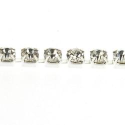 Cupchain met witte strass, zilver, 3 mm (2 mtr.)
