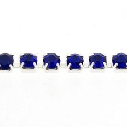 Cupchain zilver strass blauw 3mm (2 mtr.)